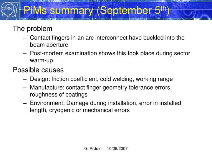 PiMs summary (September 5
