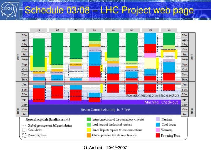 Schedule 03/08 – LHC Project web page