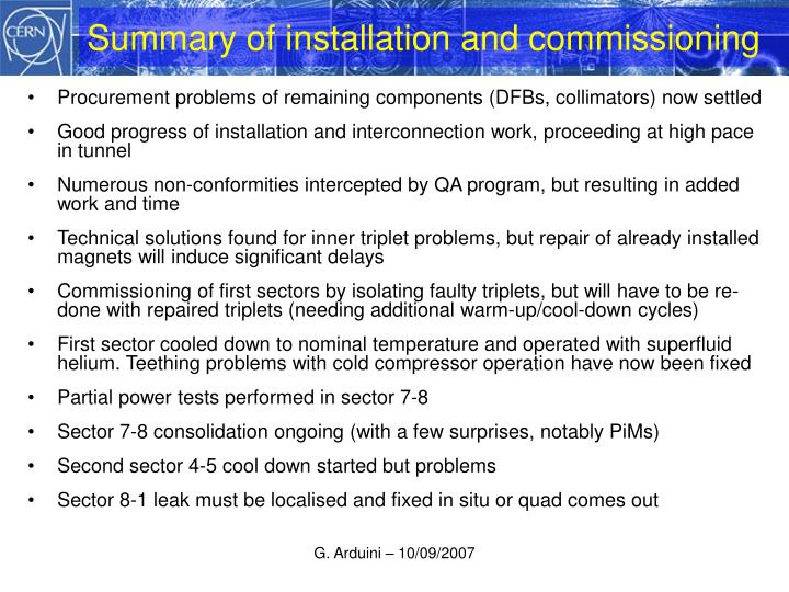 Summary of installation and commissioning