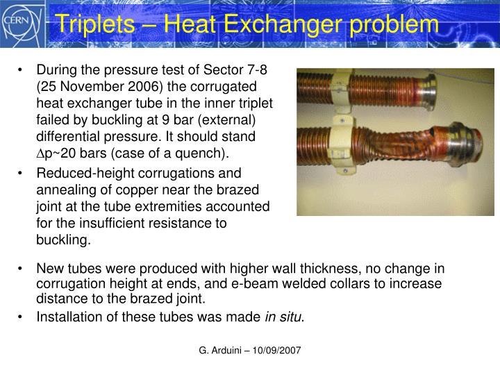Triplets – Heat Exchanger problem