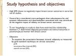 study hypothesis and objectives