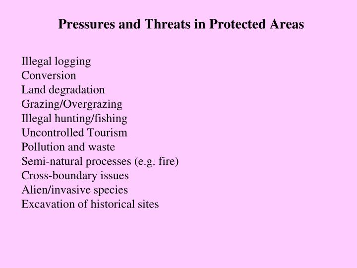 Pressures and Threats in Protected Areas