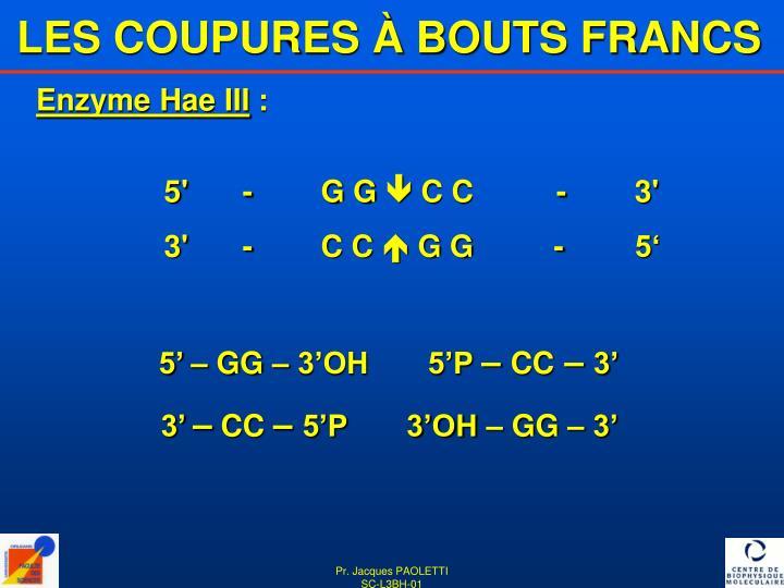 LES COUPURES À BOUTS FRANCS