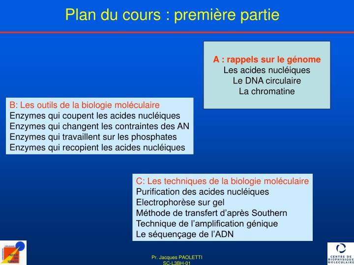 Plan du cours : première partie