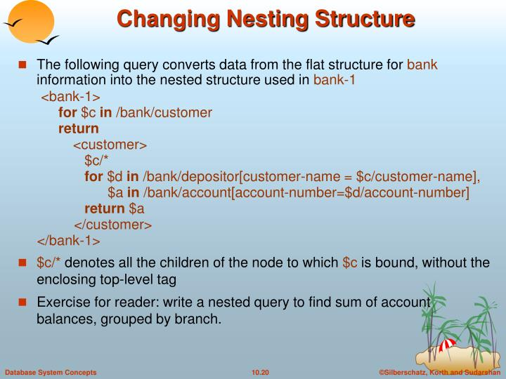 The following query converts data from the flat structure for