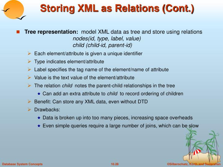 Storing XML as Relations (Cont.)
