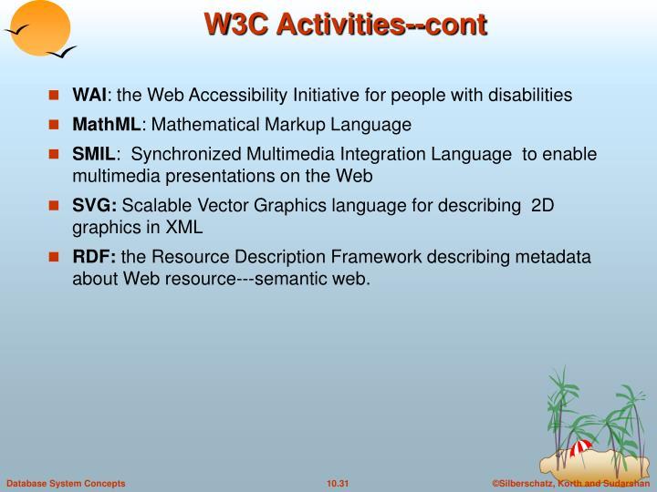 W3C Activities--cont