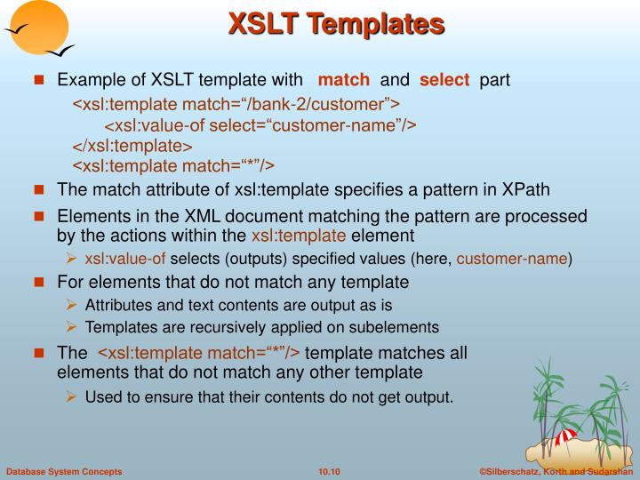 Example of XSLT template with