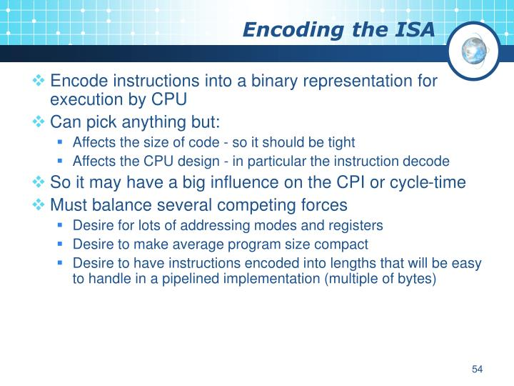 Encoding the ISA