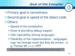 goal of the compiler