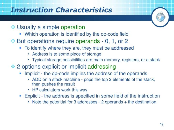 Instruction Characteristics