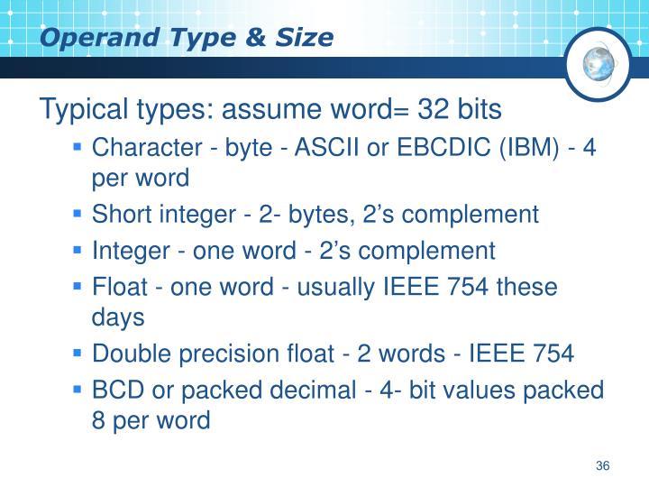 Operand Type & Size