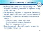 short summary compilers