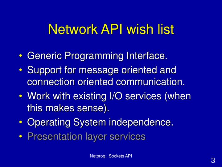 Network API wish list
