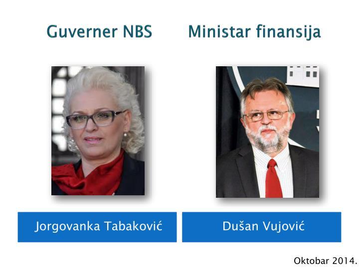 Guverner NBS       Ministar finansija