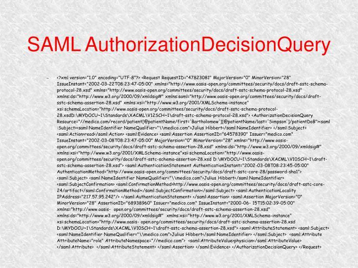 SAML AuthorizationDecisionQuery
