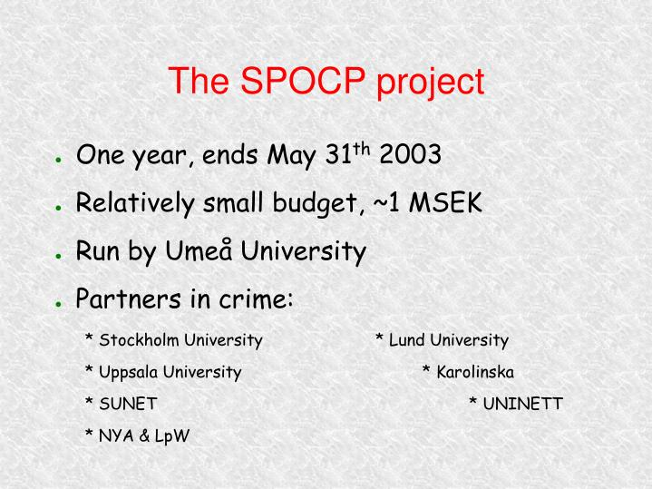The spocp project