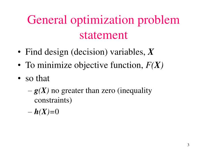 General optimization problem statement