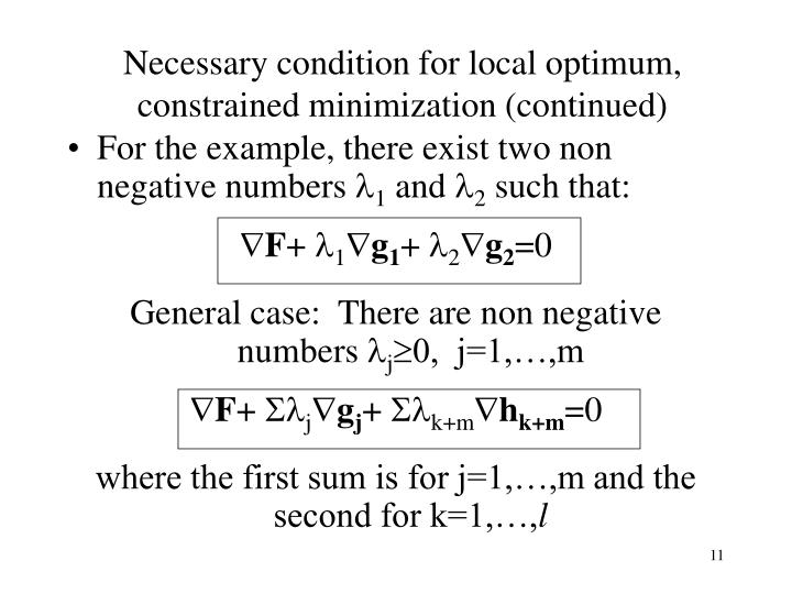 Necessary condition for local optimum, constrained minimization (continued)