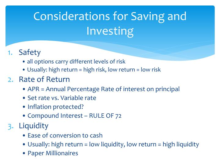 Considerations for Saving and Investing