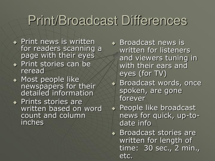 Print broadcast differences
