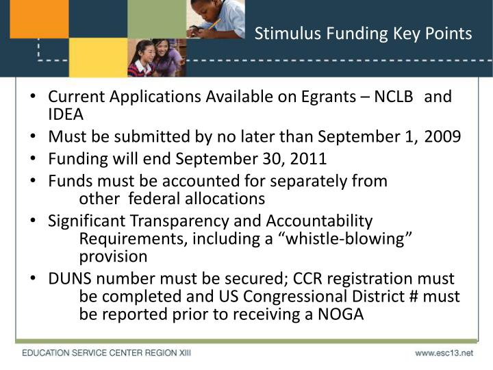 Stimulus Funding Key Points