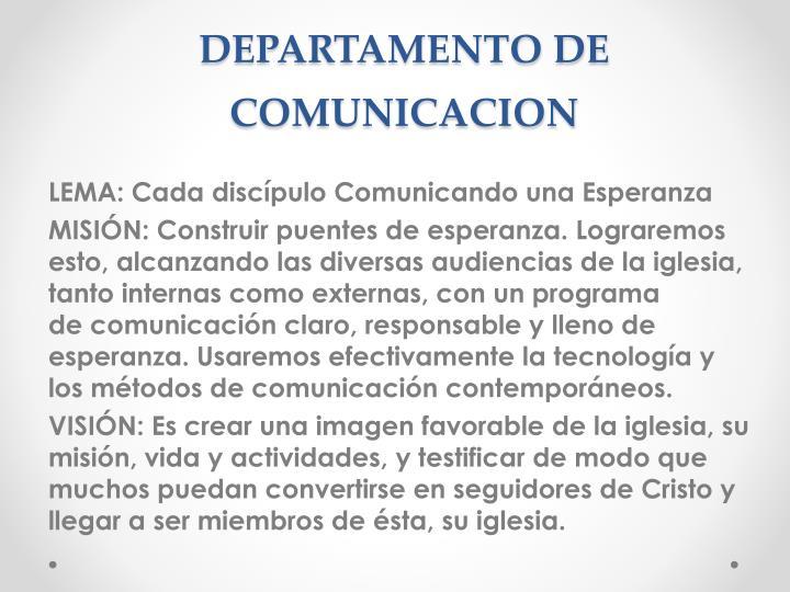 DEPARTAMENTO DE COMUNICACION