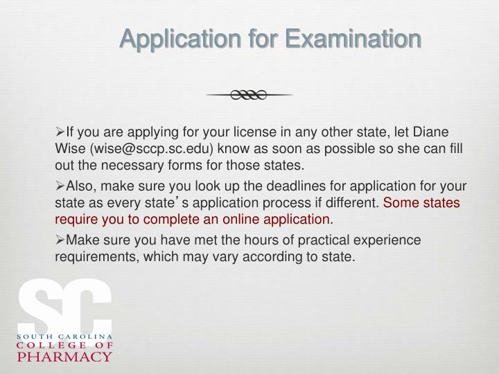 Application for Examination