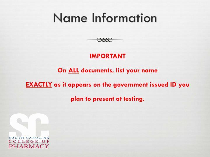 Name Information
