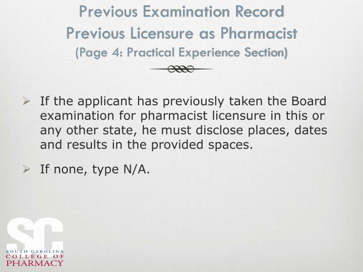 Previous Examination Record