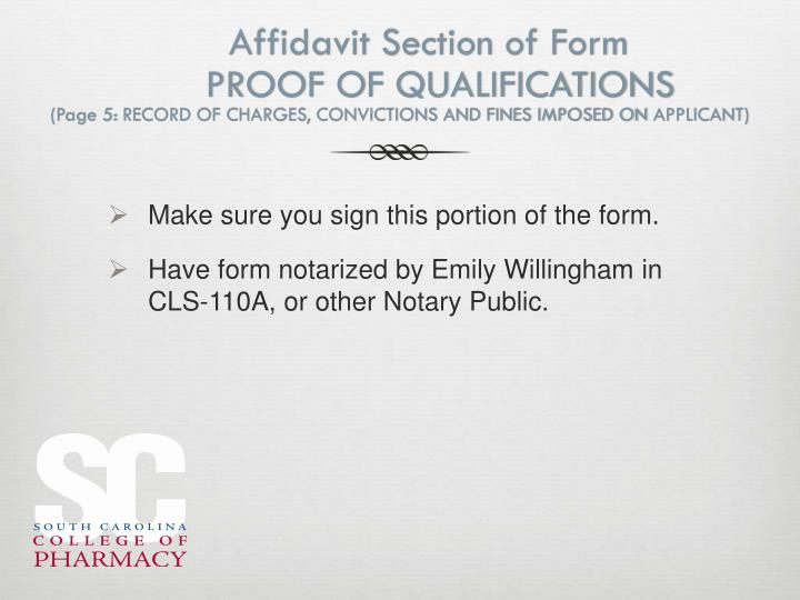 Affidavit Section of Form