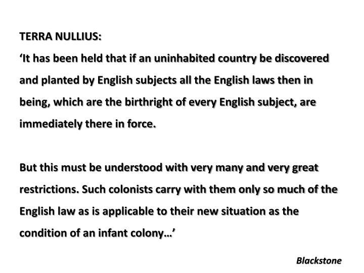 TERRA NULLIUS: