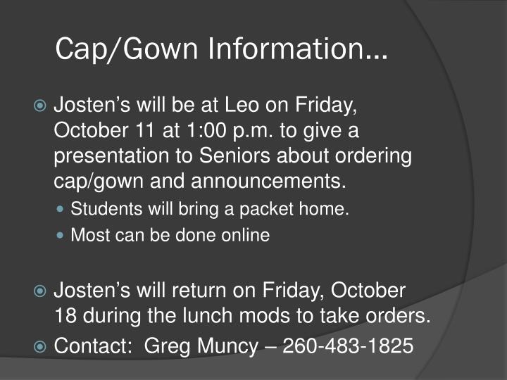 Cap/Gown Information…
