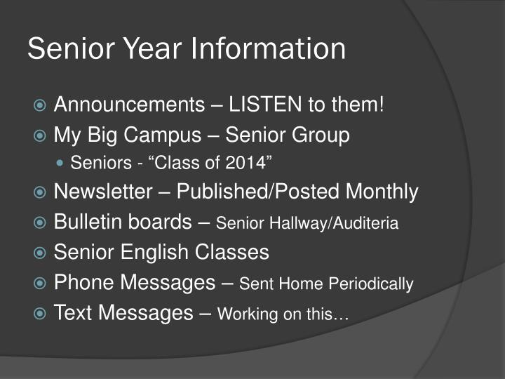 Senior Year Information