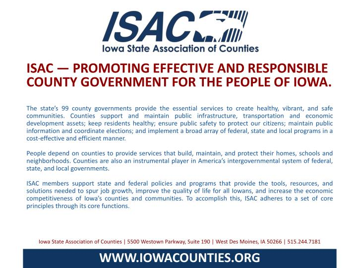 ISAC — PROMOTING EFFECTIVE AND RESPONSIBLE COUNTY GOVERNMENT FOR THE PEOPLE OF IOWA.