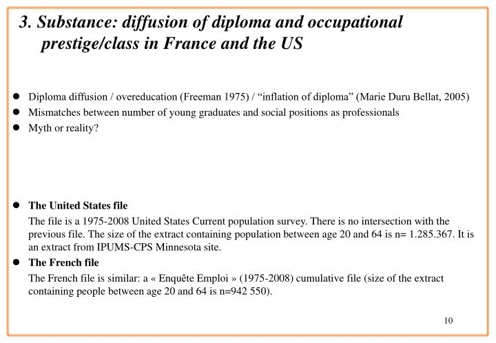 3. Substance: diffusion of diploma and occupational