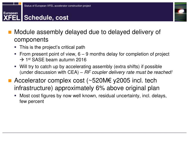 Module assembly delayed due to delayed delivery of components