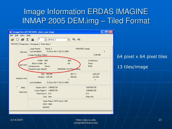 Image Information ERDAS IMAGINE