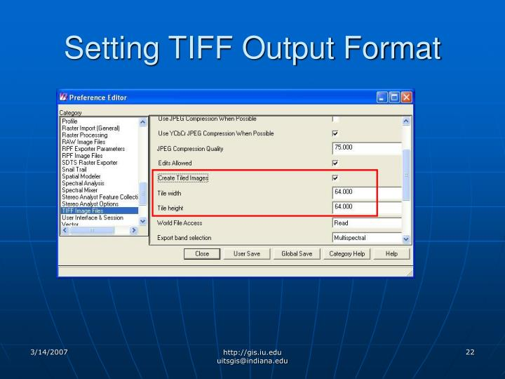 Setting TIFF Output Format