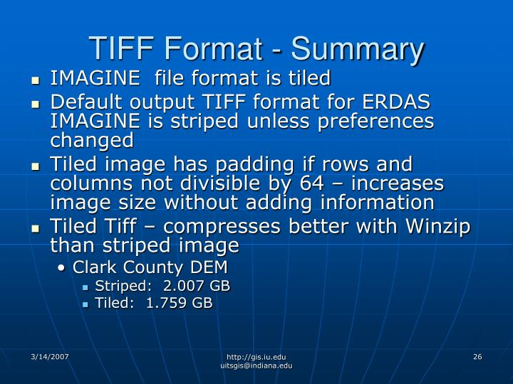 TIFF Format - Summary