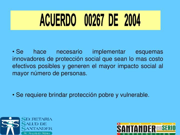 ACUERDO    00267  DE   2004