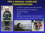 ppe manual handling considerations