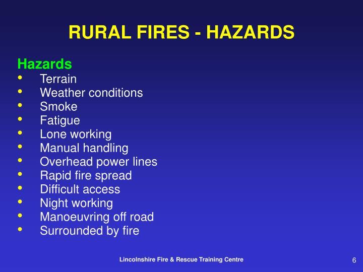 RURAL FIRES - HAZARDS