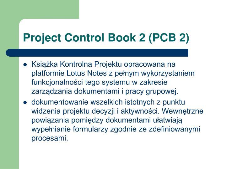 Project Control Book 2 (PCB 2)