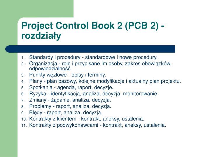 Project Control Book 2 (PCB 2) - rozdziały