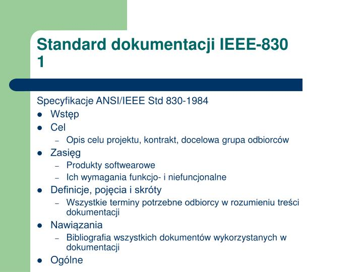 Standard dokumentacji IEEE-830