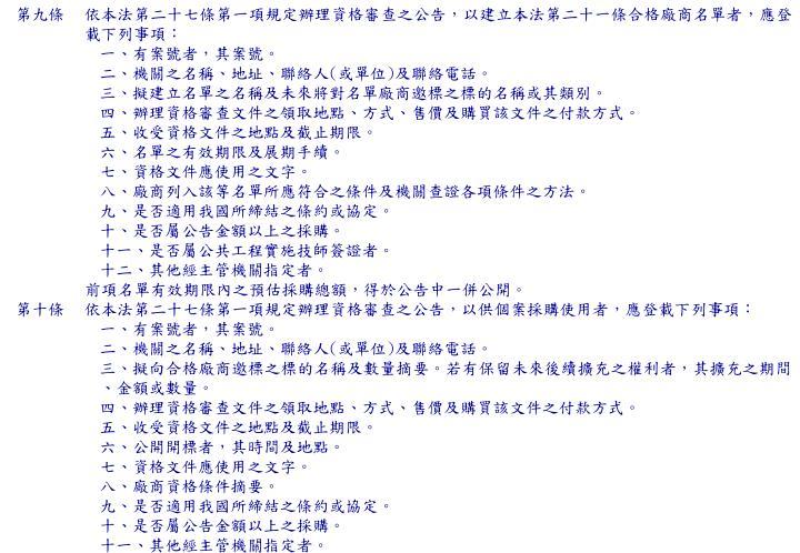 第九條依本法第二十七條第一項規定辦理資格審查之公告,以建立本法第二十一條合格廠商名單者,應登載下列事項: