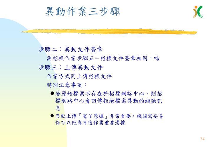 異動作業三步驟