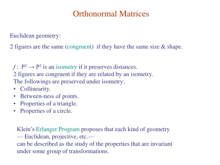 Orthonormal Matrices