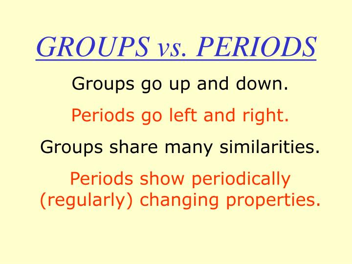 Groups vs periods